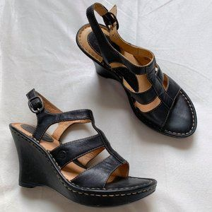 Born || Leather Wedge Strappy Sandals 6